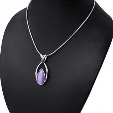 Ocelový náhrdelník - Fialová Kapka / Hádě (3424)