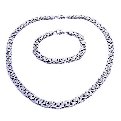 Ocelový náhrdelník + náramek / Plochá Vazba / 0,8 cm (7787)