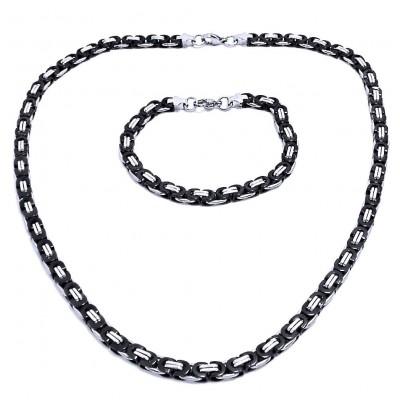 Ocelový náhrdelník + náramek - Plochá Vazba 0,6 cm / shiny / Black (7544)