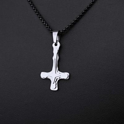 Ocelový Přívěsek + Řetízek Black - Obrácený kříž / upside down cross 13