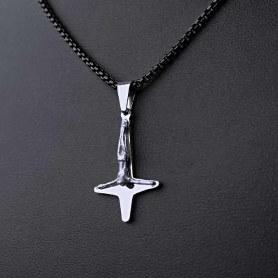 Ocelový Přívěsek + Řetízek Black - Obrácený kříž / upside down cross 12