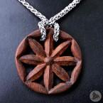 Ocelový náhrdelník - Přívěsek Perunova Hvězda (Ziricote dřevo) 02 + Řetízek Celtic