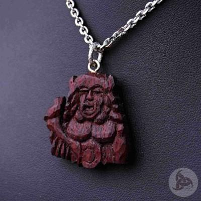 Ocelový náhrdelník - Přívěsek Radegast (Padouk dřevo) 01 + Řetízek Anker