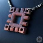 Ocelový náhrdelník - Přívěsek Bodlák Štěstí (Tygří dřevo) 01 + Řetízek Rings