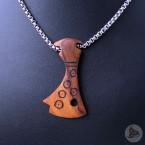 Ocelový náhrdelník - Přívěsek Sekera (Tygří dřevo) 02 + Řetízek