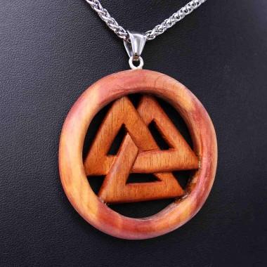 Ocelový náhrdelník - Valknut symbol / Tygří dřevo / Červený Cedr / Řetízek Celtic 01