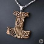 Ocelový náhrdelník - Přívěsek Thorovo kladivo Mjolnir (Ořech) 01 + Řetízek Celtic 5 mm