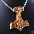 Ocelový náhrdelník - Přívěsek Thorovo kladivo Mjolnir (Ořech) 02 + Řetízek Celtic