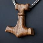 Ocelový náhrdelník - Přívěsek Thorovo kladivo Mjolnir (Ořech) 03 + Řetízek Celtic 4 mm