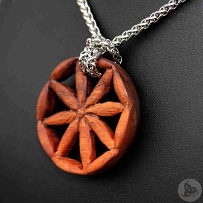 Ocelový náhrdelník - Přívěsek Perunova Hvězda (Tygří dřevo) 01 + Řetízek Celtic