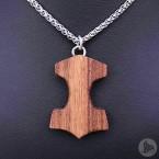Ocelový náhrdelník - Přívěsek Thorovo kladivo Mjolnir (Tygří dřevo) 01 + Řetízek Celtic