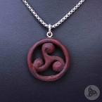 Ocelový náhrdelník - Přívěsek Triskelion (Padouk) 01 + Řetízek Rings