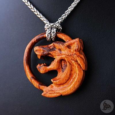 Ocelový náhrdelník - Vlčí Amulet / Zebrano Dřevo / Řetízek Celtic