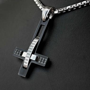 Ocelový Přívěsek  s Řetízkem -  Obrácený kříž / upside down cross 03