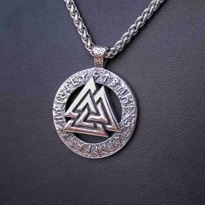 Ocelový přívěsek + Řetízek - Valknut Symbol 01 / Celtic chain