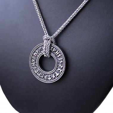 Ocelový přívěsek - Kruh / Runy + Řetízek Celtic 60 cm.